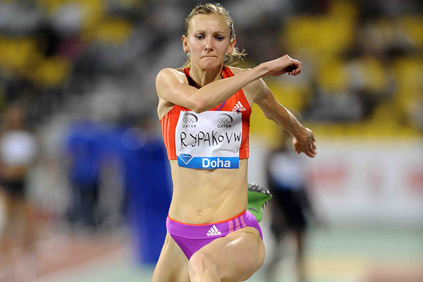 Olga Rypakova in the triple jump at the IAAF Diamond League meeting in Doha (Jiro Mochizuki)