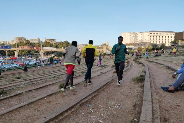 Athletes training in Meskel Square in Addis Ababa (Cathal Dennehy)