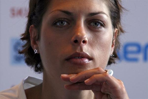 Blanka Vlasic at the pre-meet press conference in Ostrava (Bob Ramsak)