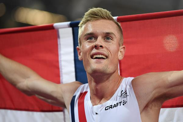 Filip Ingebrigtsen celebrates after the men's 1500m final at the IAAF World Championships London 2017 (Getty)