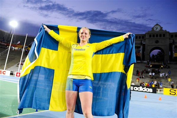 Sofi Flinck of Sweden celebrates after winning the gold medal during the Women's Javaline Throw final on the day two of the 14th IAAF World Junior Championships in Barcelona 11 July 2012 (Getty Images)