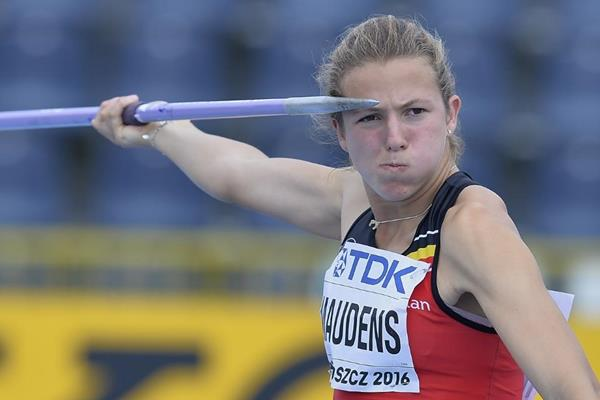 Hanne Maudens in the heptathlon javelin at the IAAF World U20 Championships Bydgoszcz 2016 (Getty Images)