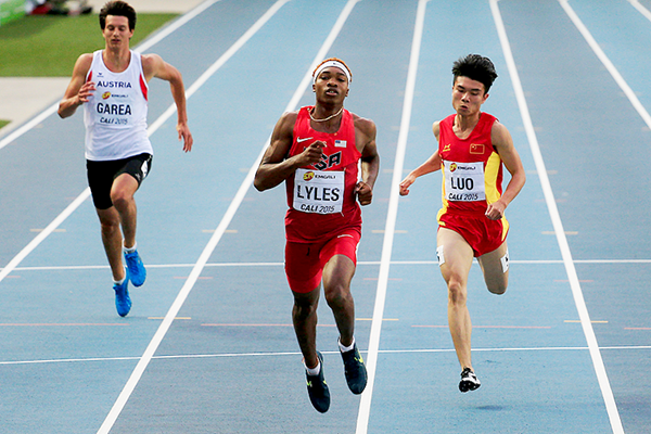 Josephus Lyles in the 200m at the IAAF World Youth Championships Cali 2015 (Getty Images)