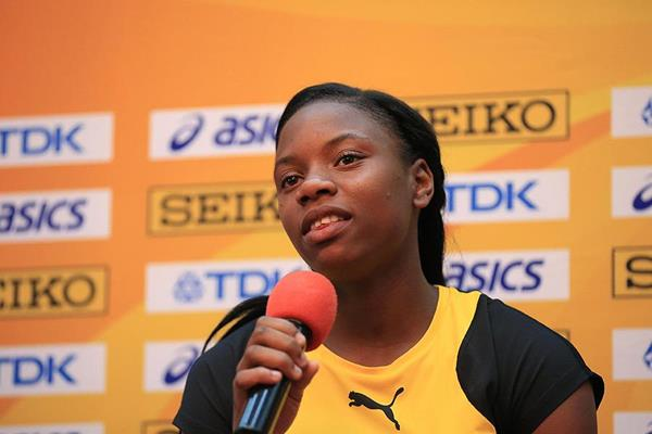 Jamaican sprinter Kevona Davis at the press conference ahead of the IAAF World U18 Championships Nairobi 2017 (Getty Images)