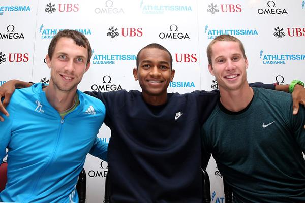 Bogdan Bondarenko, Mutaz Essa Barshim and Derek Drouin at the press conference ahead of the 2014 IAAF Diamond League meeting in Lausanne (Giancarlo Colombo)