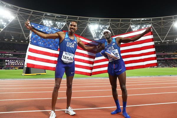 Christian Taylor and Will Claye after going 1-2 in the triple jump at the IAAF World Championships London 2017 (Getty)