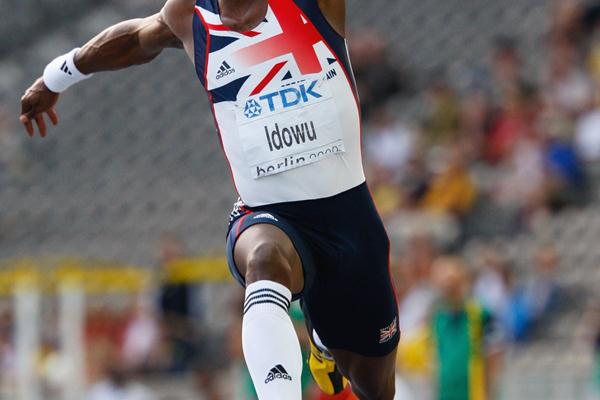 Phillips Idowu bounds out to a PB of 17.73m in the men's Triple Jump final (Getty Images)