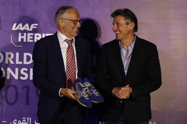 Olympic championships Lasse Viren and Sebastian Coe at the IAAF Heritage exhibition opening in Doha (Karim Jaafar)