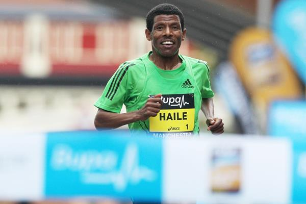 Haile Gebrselassie on his way to another victory on the British roads (Getty Images)