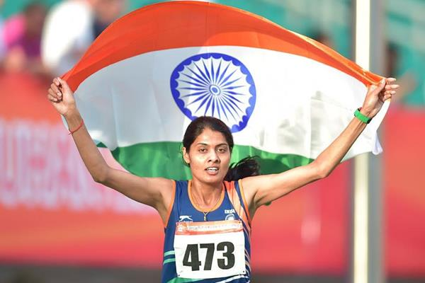 India's Lalita Babar after winning the 3000m steeplechase at the 2015 Asian Championships (Asian Championships LOC / AAA)