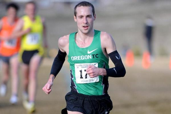 Dathan Ritzenhein en route to national cross country title No. 3 (Kirby Lee)