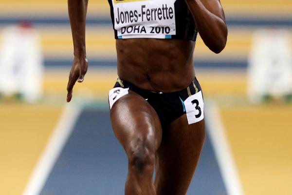 LaVerne Jones-Ferrette of The Virgin Islands competes in the womens 60m heats (Getty Images)
