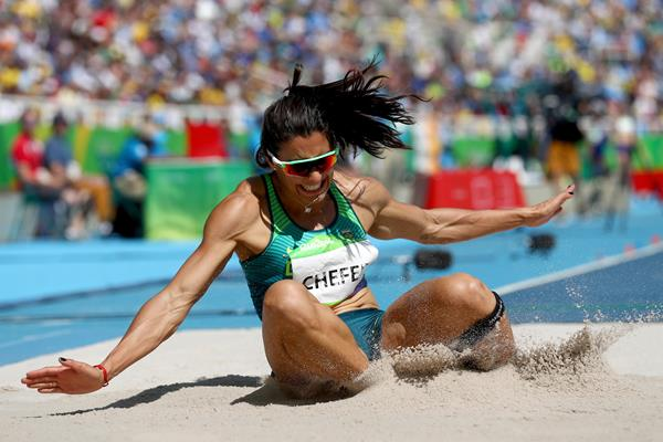 Vanessa Chefer of Brazil in the heptathlon long jump at the 2016 Olympic Games (Getty Images)