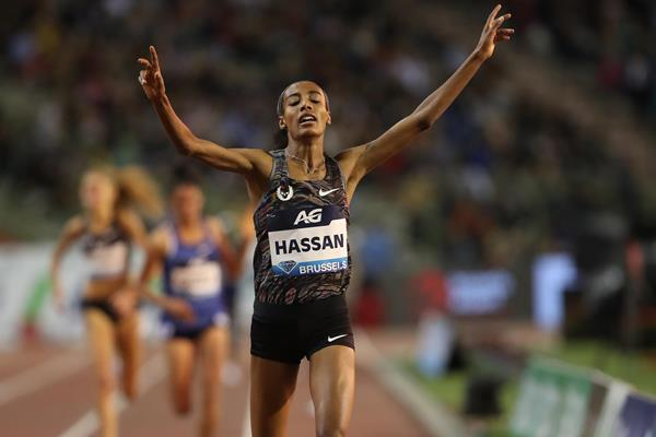 Sifan Hassan winning her second Diamond Trophy in as many weeks, this time the 5000m in Brussels (Giancarlo Colombo)
