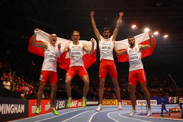 Poland's 4x400m team - Karol Zalewski, Rafal Omelko, Lukasz Krawczuk and Jakub Krzewina - after setting a world indoor record at the IAAF World Indoor Championships Birmingham 2018 (Getty Images)