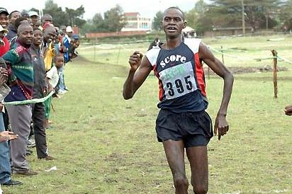 Nicholas Kamakya winning the 12km XC in Machakos, Kenya (Elias Makori)