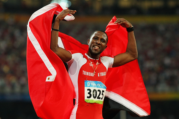 Richard Thompson celebrates after taking the 100m silver medal at the 2008 Olympics in Beijing (Getty Images)