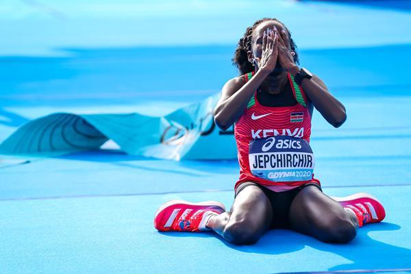 Peres Jepchirchir after winning the World Athletics Half Marathon Championships Gdynia 2020 (Dan Vernon)