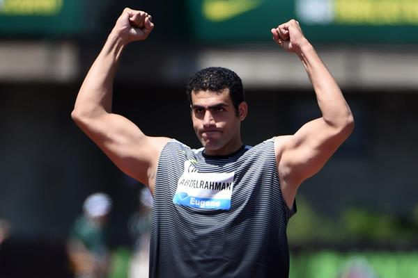 Ihab Abelrahman at the 2016 IAAF Diamond League meeting in Eugene (Kirby Lee)