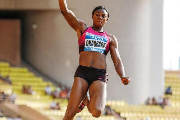 Blessing Okagbare breaks seven metres at the 2013 Monaco Diamond League (Philippe Fitte)