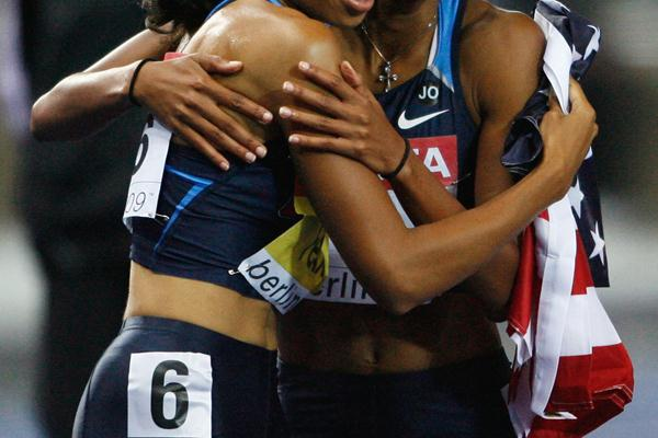 Allyson Felix of the United States is congratulated on winning the gold medal in the women's 200m by compatriot Muna Lee at the 12th IAAF World Championships in Berlin (Getty Images)
