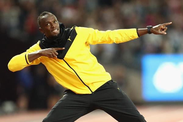Usain Bolt on his final victory lap at the IAAF World Championships London 2017 (Getty Images)
