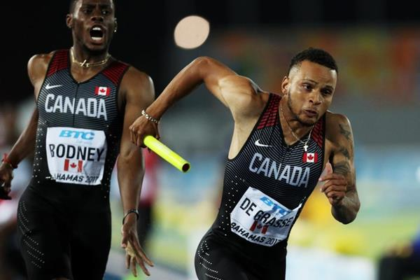 Andre de Grasse of Canada in the 4x200m final in Nassau (Getty Images)