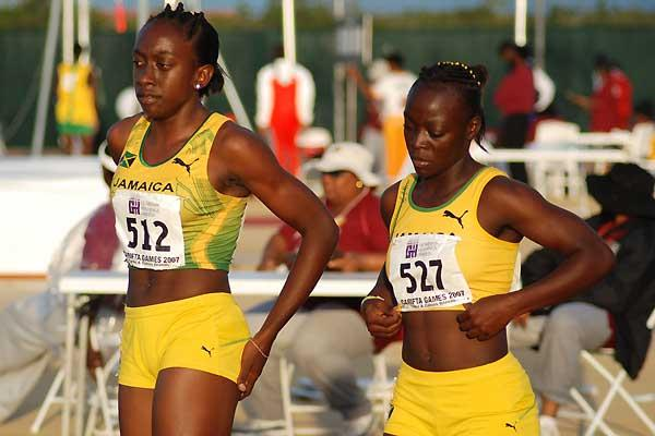 Antonique Campbell and her teammate Deneisha Morris after finishing one-two in the U-17 200m - CARIFTA (Anthony Foster)