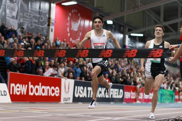 Bryce Hoppel wins the 1000m at the World Athletics Indoor Tour meeting in Boston (Victah Sailer)