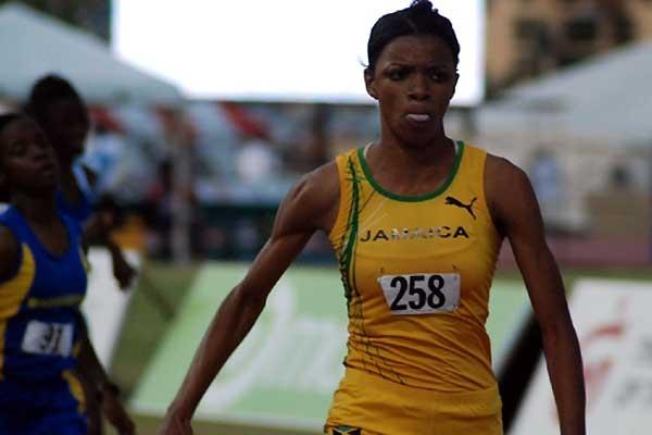 Jamaica's Danielle Dowie on her way to victory in the girls' Under-17 300m Hurdles - 2008 CARIFTA (Anthony Foster)