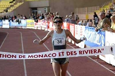 Alina Tecuta Gherasim of Romania, the women's race winner at the 9th Monaco Marathon in the Stade Louis II (Sean Wallace-Jones)