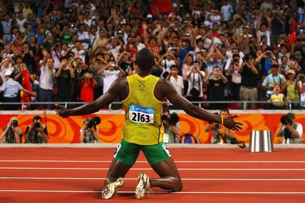Usain Bolt soaks up the atmosphere after breaking one of the toughest world records on the books (Getty Images)