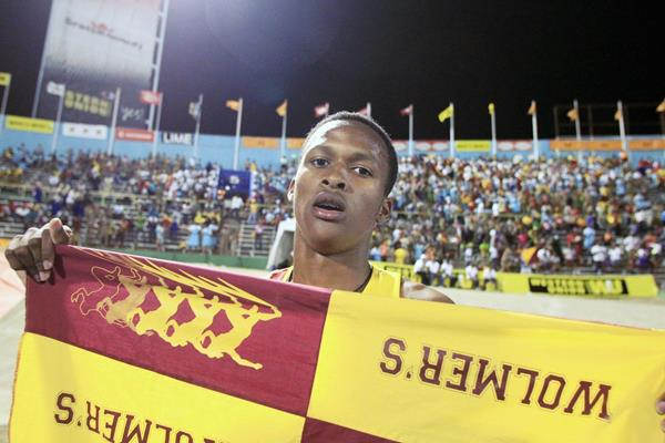 Jaheel Hyde after winning the 400m hurdles at the Boys and Girls Championships in Jamaica (Jean-Pierre Durand)