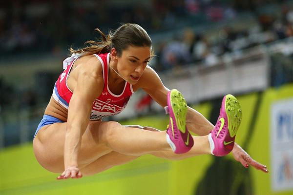 Ivana Spanovic on her way to long jump gold at the European Indoor Championships (Getty Images)