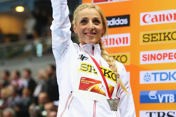 Angelika Cichocka on the podium at the IAAF World Indoor Championships Sopot 2014 (Getty Images)