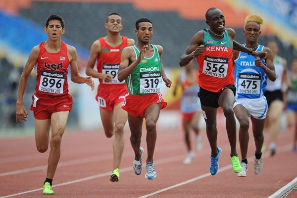 Action shot in the boys' 1500m heat 3 at the IAAF World Youth Championships 2013 (Getty Images)