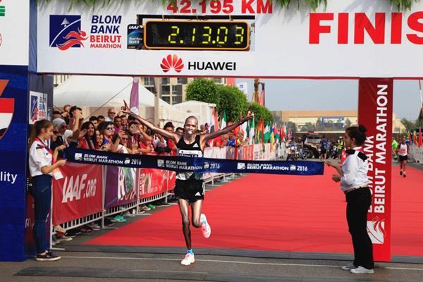 Edwin Kiptoo wins the 2016 Beirut Marathon (Organisers)