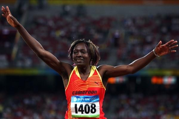 Francoise Mbango defends her triple jump title with an Olympic record (Getty Images)