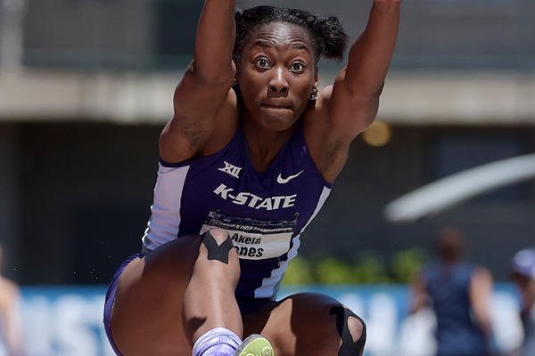 Akela Jones in the heptathlon long jump (Kirby Lee)