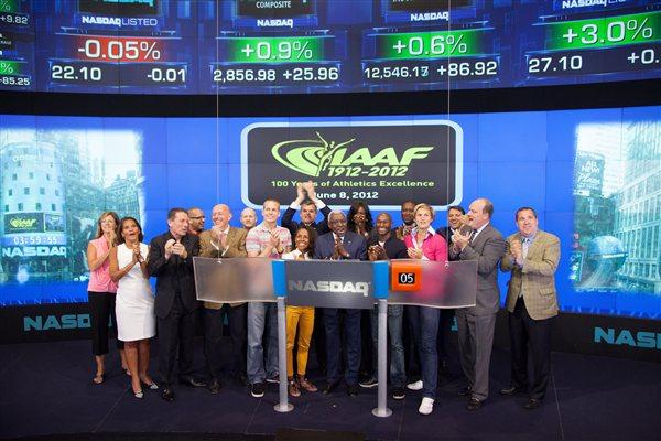 An IAAF delegation with President Lamine Diack at the NASDAQ offices (NASDAQ)