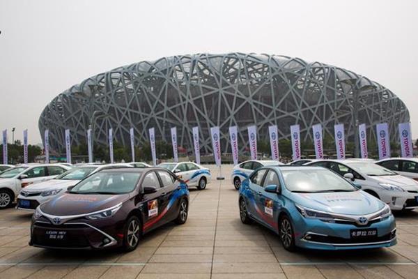 The fleet of Toyota cars outside the Birds' Nest Stadium (Toyota / Beijing 2015 LOC)