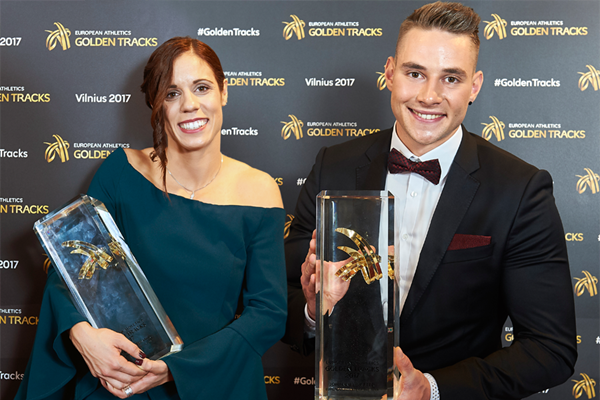 Ekaterini Stefanidi and Johannes Vetter, winners of the 2017 European Athlete of the Year awards (Getty Images)