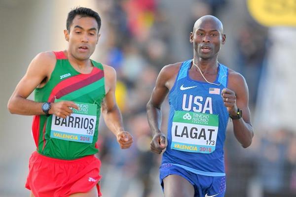 Bernard Lagat (r) and Juan Luis Barrios at the IAAF World Half Marathon Championships Valencia 2018 (Jiro Mochizuki)