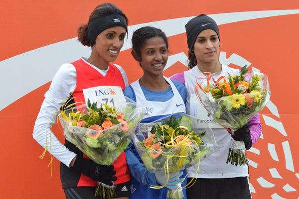 Mestawet Tadesse, Eleni Gebrehiwot and Fathia Benchatki at the 2013 ING Eurocross meeting in Diekirch, Luxembourg (Rosch kohl)
