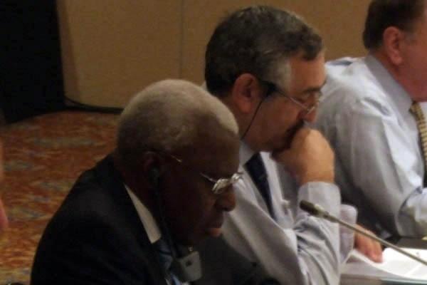IAAF Council meeting, Monaco, 21 Nov 2008 - President Lamine Diack and General Secretary Pierre Weiss (IAAF)