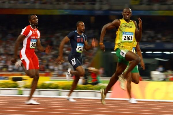 Usain Bolt stretches away from the rest of the 100m sprinters (Getty Images)