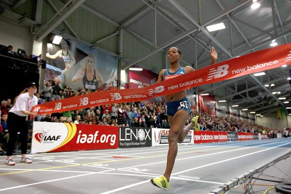 Dawit Seyaum winning the 2000m at the 2015 New Balance Indoor Grand Prix in Boston (Victah Sailer)