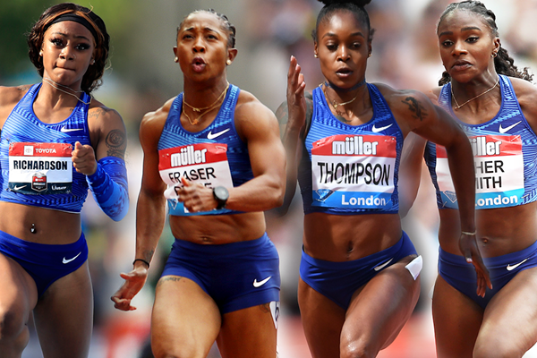 Sha'Carri Richardson, Shelly-Ann Fraser-Pryce, Elaine Thompson and Dina Asher-Smith (Getty Images)