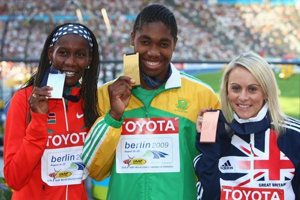The medallists in the women's 800m (L-R) Kenya's Janeth Jepkosgei (silver), South Africa's Caster Semenya (gold) and Great Britain's Jennifer Meadows (bronze) (Getty Images)