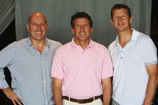 British athletics legends (L-R) Steve Ovett, Sebastian Coe and Steve Cram attend the Samsung Champions Lounge at the 12th IAAF World Championships in Athletics in Berlin (Getty Images)